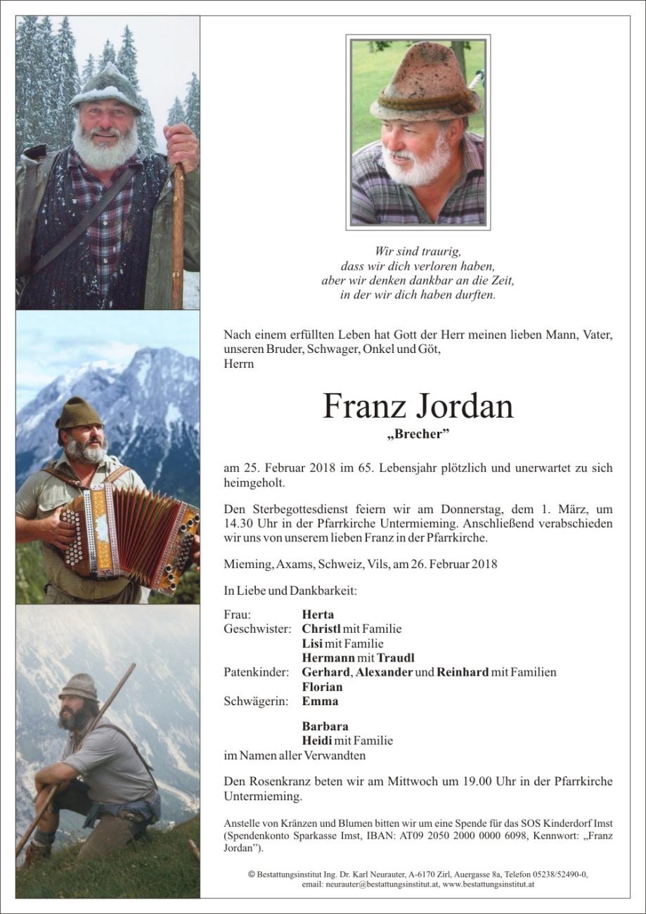 san francisco order online retail prices Gedenkseite von Franz Jordan